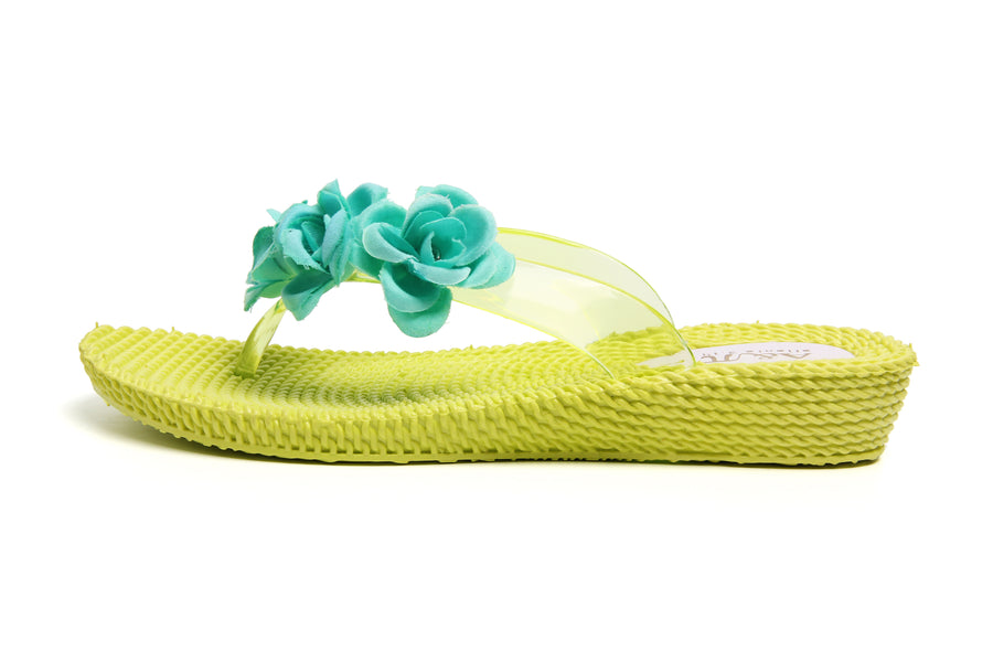 Three Flowers Yellow-Aquagreen Wedge Flip Flops - Atlantis Shoes