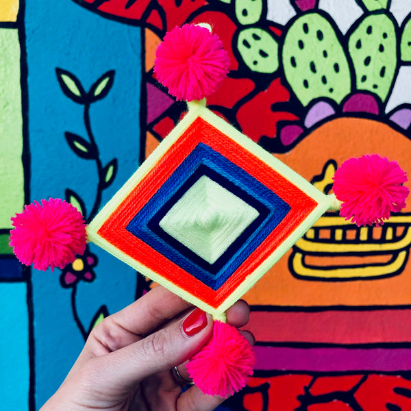 DIY with The Neon Tea Party: Ojo de Dios Ornaments & Tree Topper