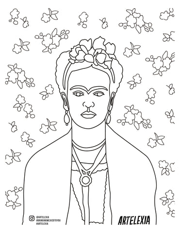Frida Kahlo Birthday Celebrations from Artelexia—Frida Kahlo FREE Download Coloring Sheet