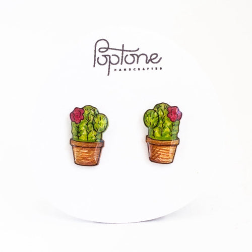 Potted Cactus Stud Earrings