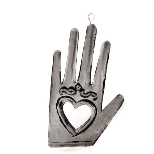 Tin Ornament - Mirrored Hand Milagro #1