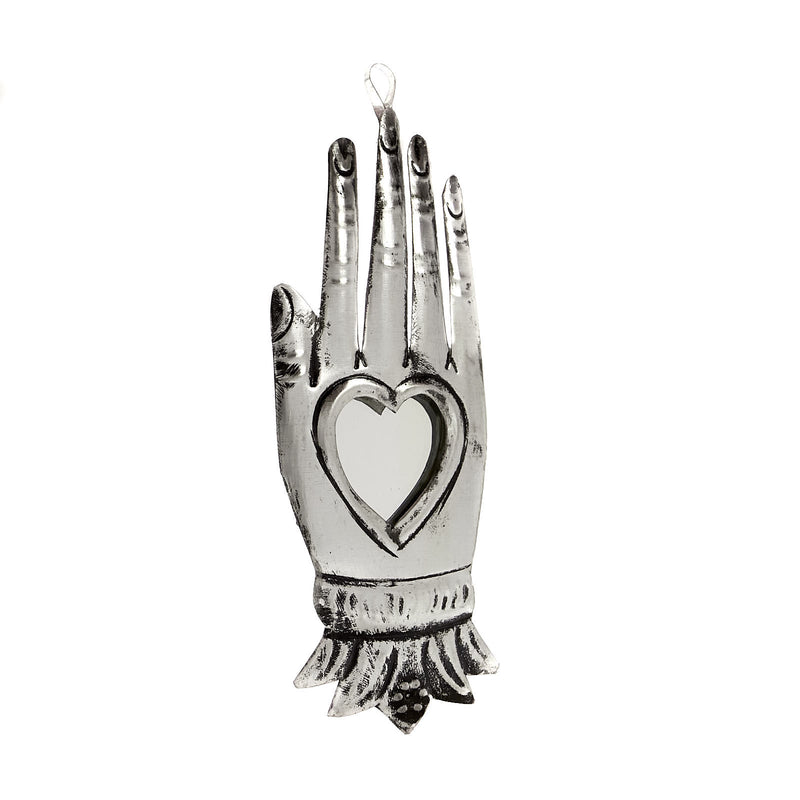 Tin Ornament - Mirrored Hand Milagro #2