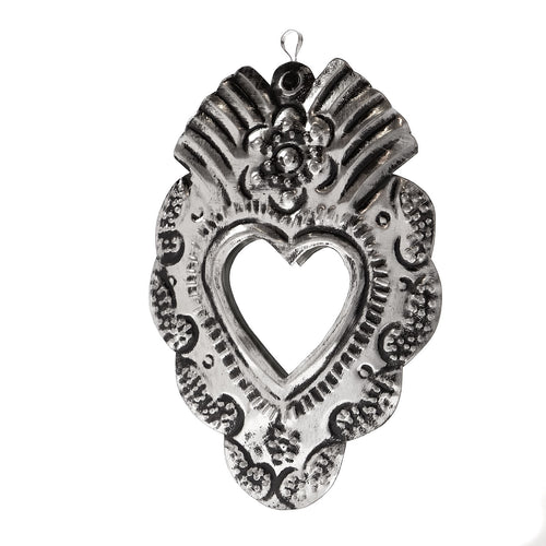 Tin Ornament - Mirrored Heart Milagro #1