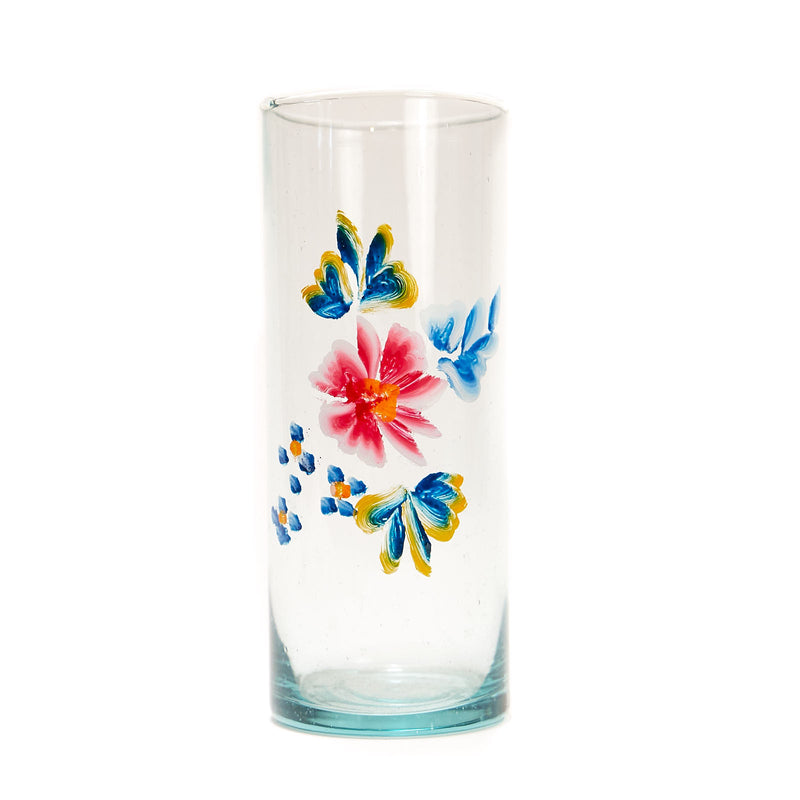 Painted Flower Glassware - Tall Glass