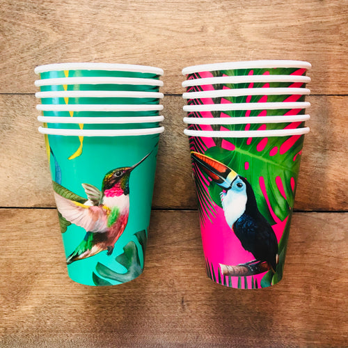 Bright, tropical bird paper cups for fiestas and parties