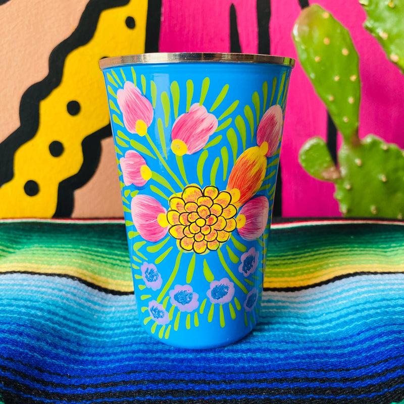 Painted Floral Steel Cup