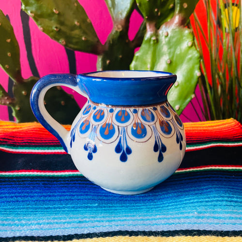 Hand Painted Stoneware Mug- Blue w/Brown