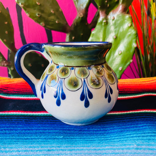 Hand Painted Stoneware Mug- Blue w/Green