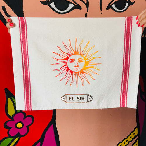Hand-painted and handprinted El Sol Loteria themed kitchen towel