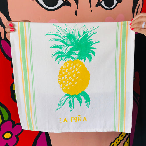 Hand-painted and handprinted La Piña Loteria themed kitchen towel