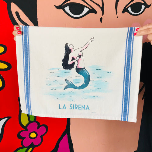 Hand-painted and handprinted La Sirena Loteria themed kitchen towel