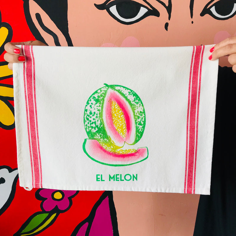 Handpainted and handmade El Melon Loteria themed kitchen towel