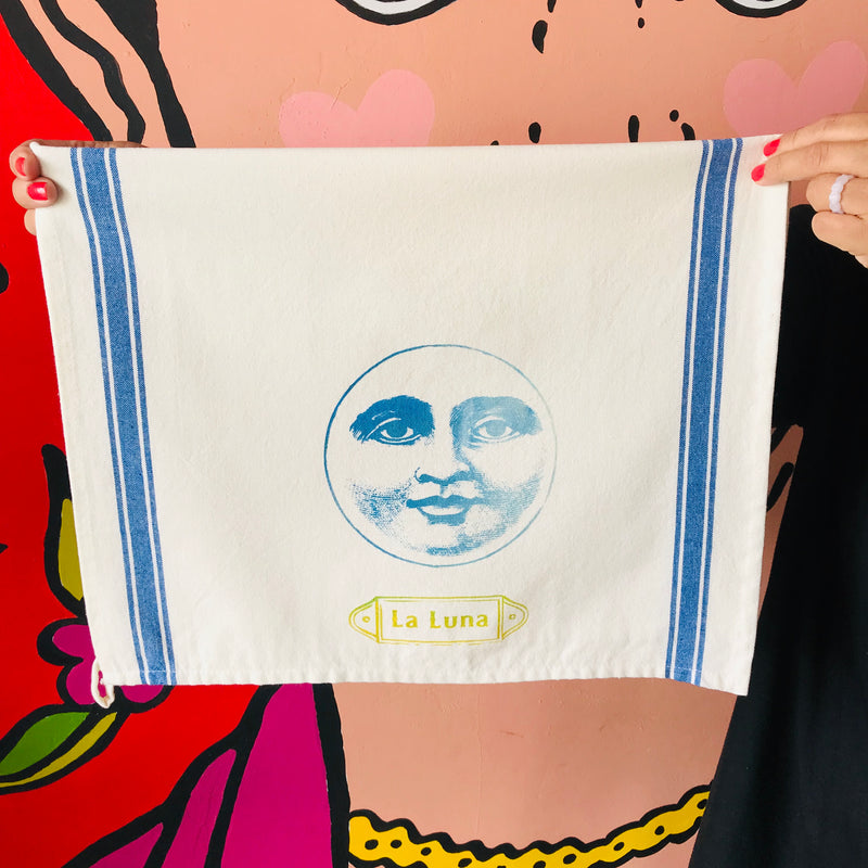 Hand-painted and handprinted La Luna Loteria themed kitchen towel