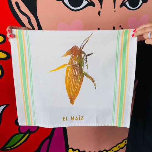 Hand-painted and handprinted El Maíz Loteria themed kitchen towel in a neon theme