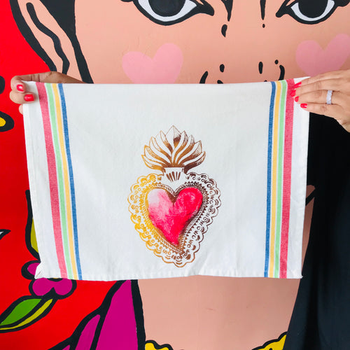Hand-painted and handprinted Sagrado Corazón Loteria themed kitchen towel