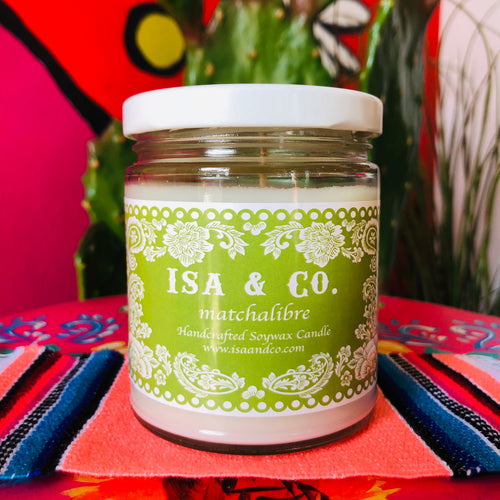 MatchaLibre scented candles by Isa in a glass jar with lid and green label