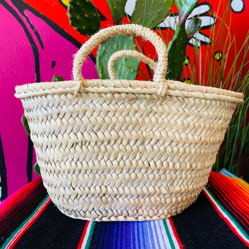 Straw French Market Basket - Small