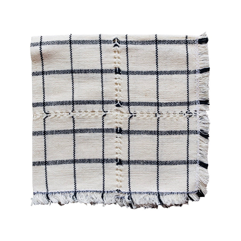 Straw Round Basket with Tassel- Black