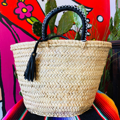 Straw French Basket with Tassel- Black
