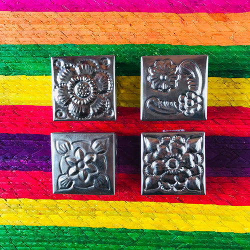 Mini square hammered tin box with floral designs