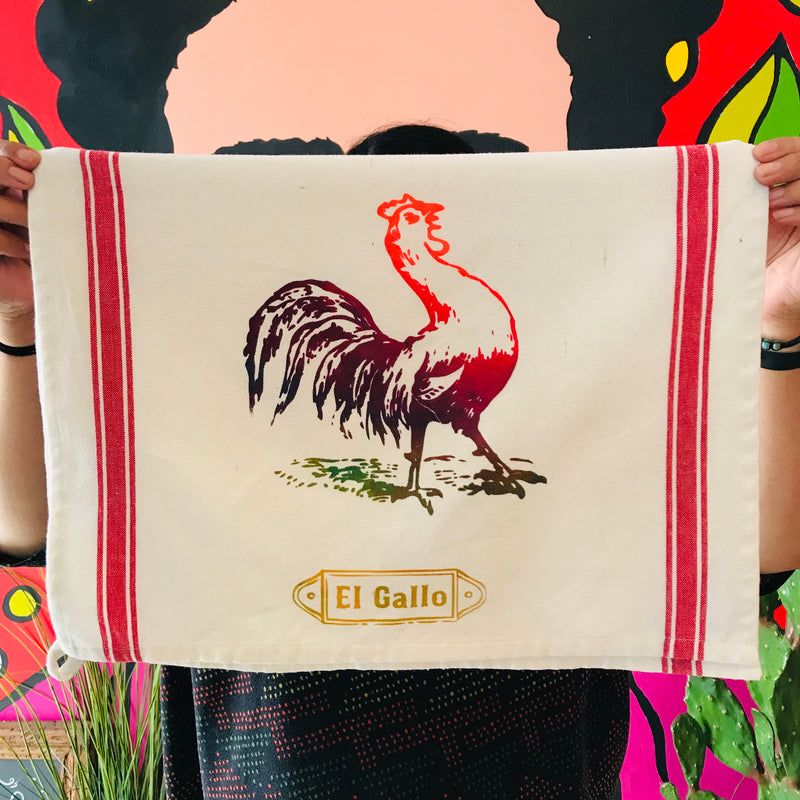 Loteria themed dish towel of a El Gallo/rooster image