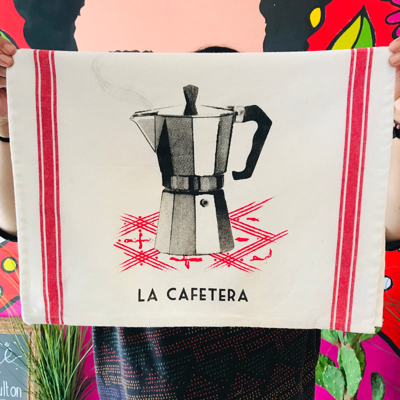 La Cafetera Lotería themed dish towels with a coffee maker and red detailing