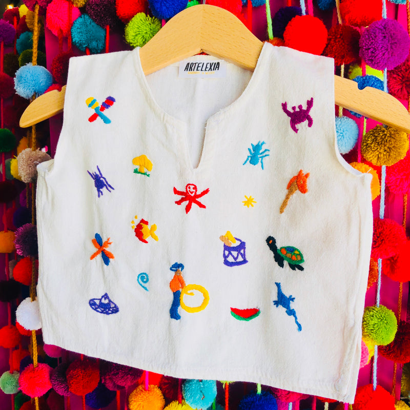 Children's hand-embroidered tank top made in Mexico