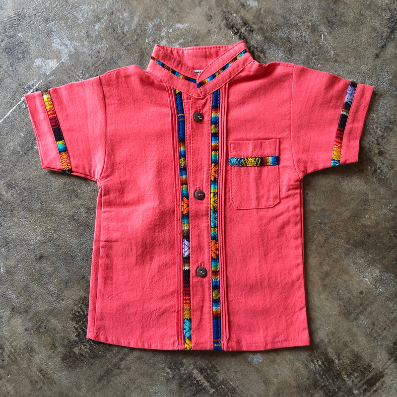 Boy's traditional Mexican fiesta button down shirt with serape accents in salmon color