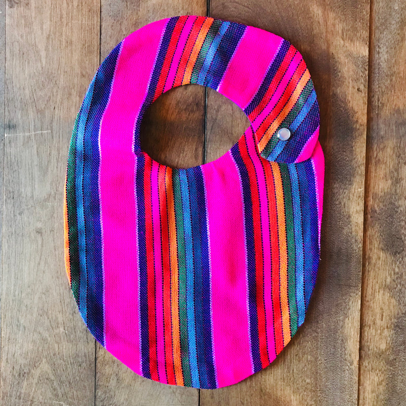 Hot pink striped baby bibs made from authentic Mexican Cambaya fabric