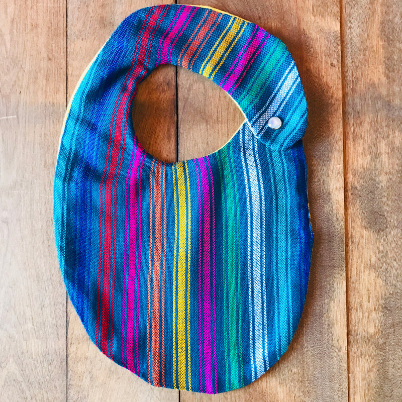 Teal striped baby bibs made from authentic Mexican Cambaya fabric