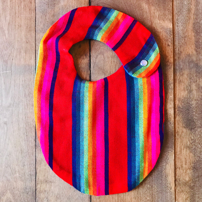 Red striped baby bibs made from authentic Mexican Cambaya fabrics