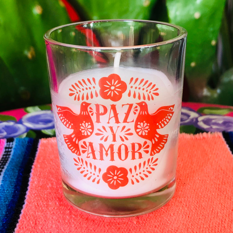 Paz y Amor small votive candle in red and white with birds and floral detailing