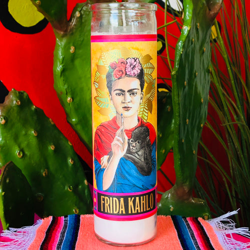 Tall, glass prayer candle with Frida Kahlo and her monkey on the front