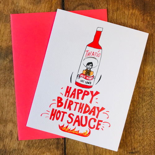 Happy birthday hot sauce greeting card with a Tapatio bottle on the front.