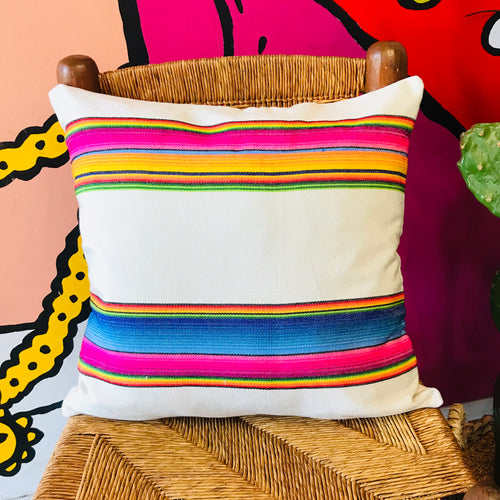 Square serape printed pillowcase with bright multi-colored stripes