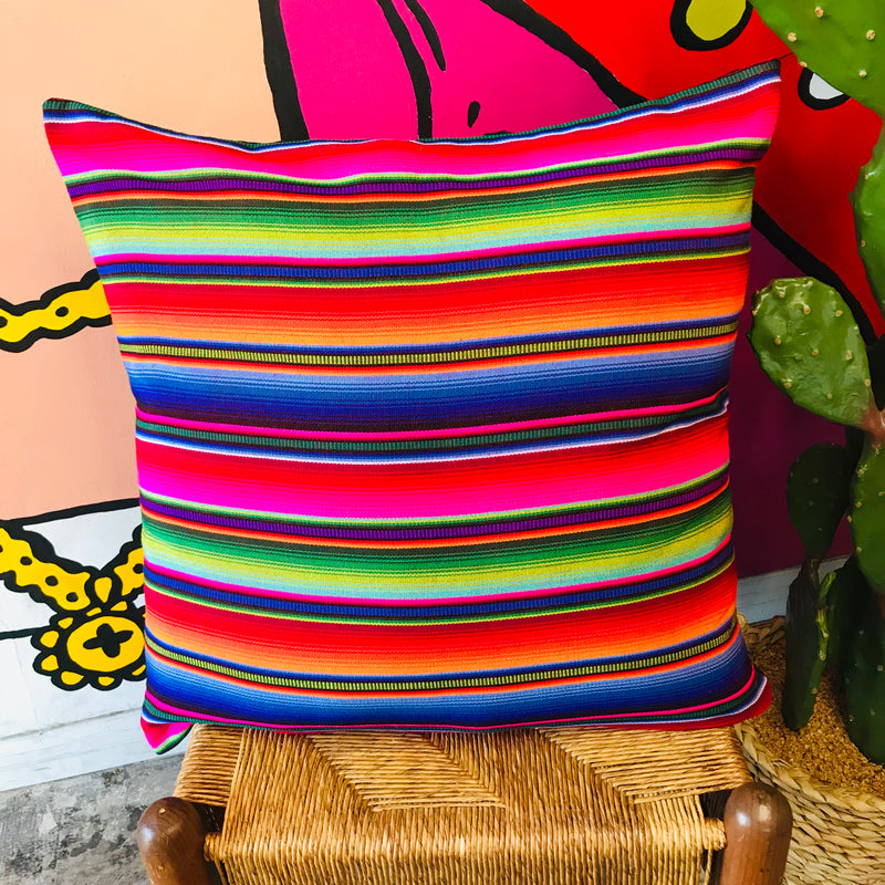 Extra large square serape printed pillowcase with bright multi-colored stripes