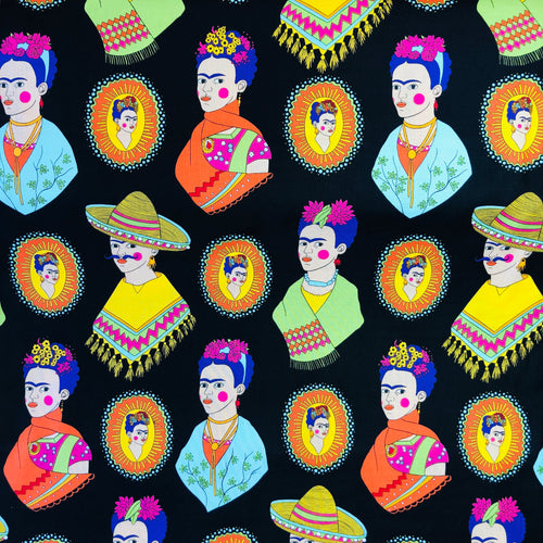 Alexander Henry Fabrics in Fantastico Frida pattern. This pattern has multiple Frida's  dressed up in different costumes against a black background