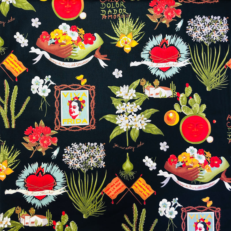 Alexander Henry Fabrics in Viva Frida pattern. This pattern has different Mexican motives such as botanicals, sacred hearts and pictures of Frida Kahlo against a black background