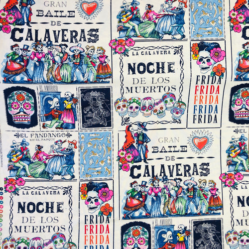 Alexander Henry Fabrics in Baile de Calaveras pattern with dancing skeletons