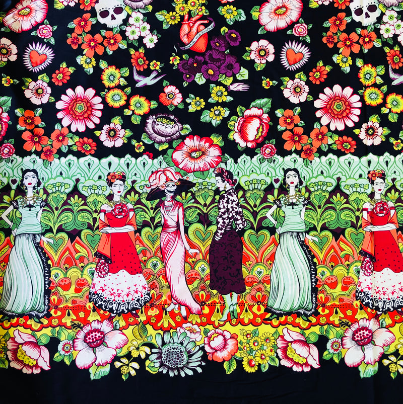 alexander Henry Fabrics in Frida La Catrina pattern. This pattern has multiple Frida's  dressed up in different la catrina costumes against a dark eggplant background