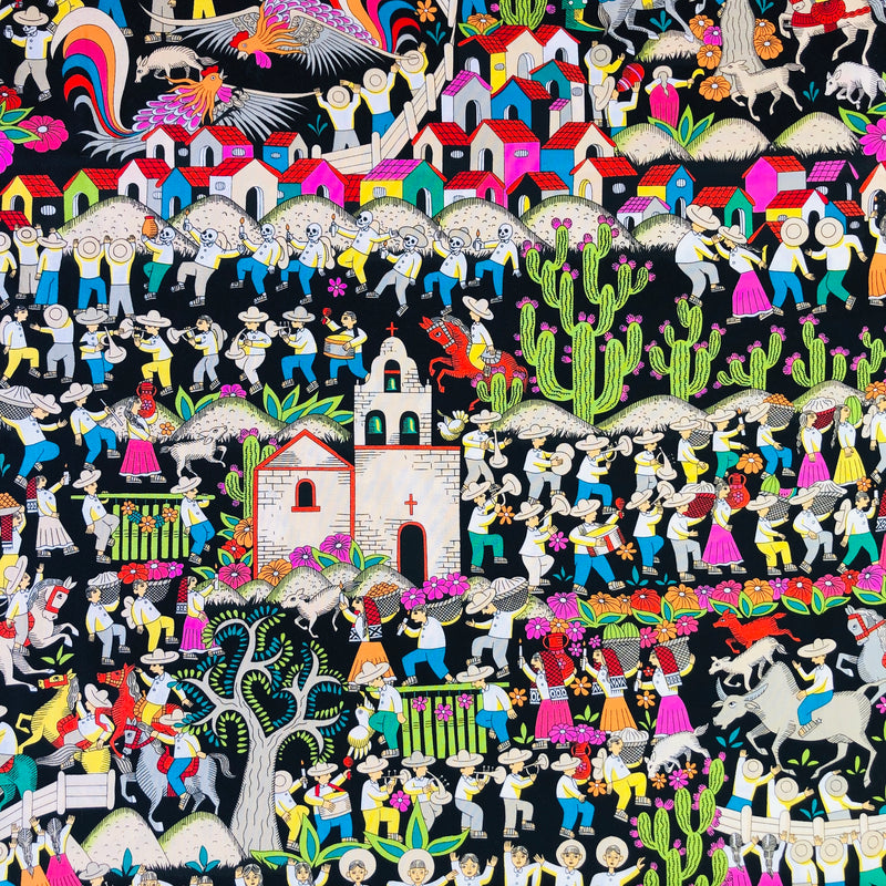 Alexander Henry Fabrics in Puebla (black/bright multicolored) pattern. This pattern has a village scene with trees and the everyday life of the people who live there