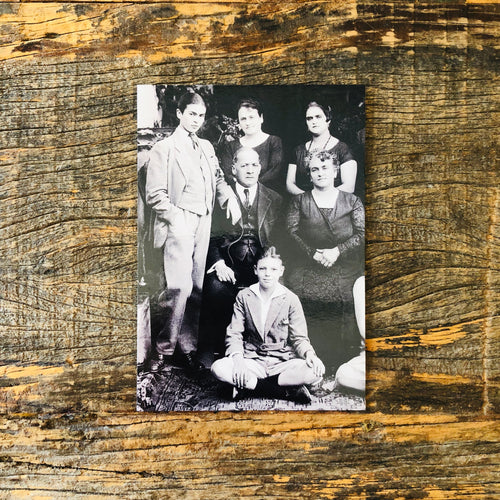 Postcard of Frida Kahlo and her family in black and white