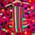 Mexican style Fiesta serape striped baby romper in red