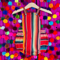 mexican style serape baby romper with leather straps in red color