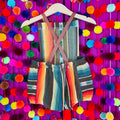 Mexican style serape baby romper with leather straps in brown color