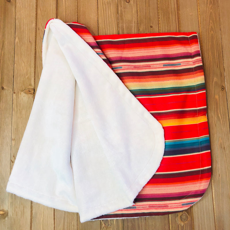 Mexican style serape baby blanket with minky backing in red color