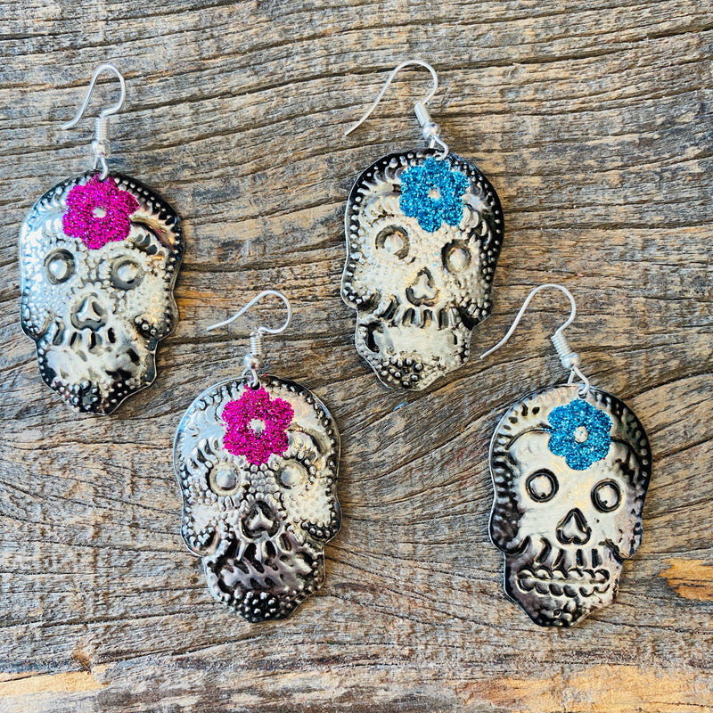 Tin Skull Earrings