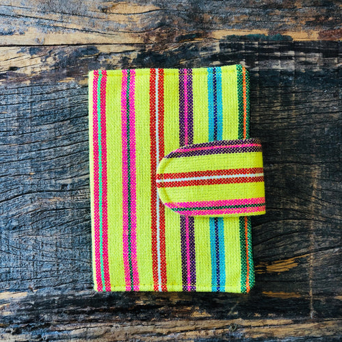 Bright yellow serape stripe passport holder/wallet for traveling.