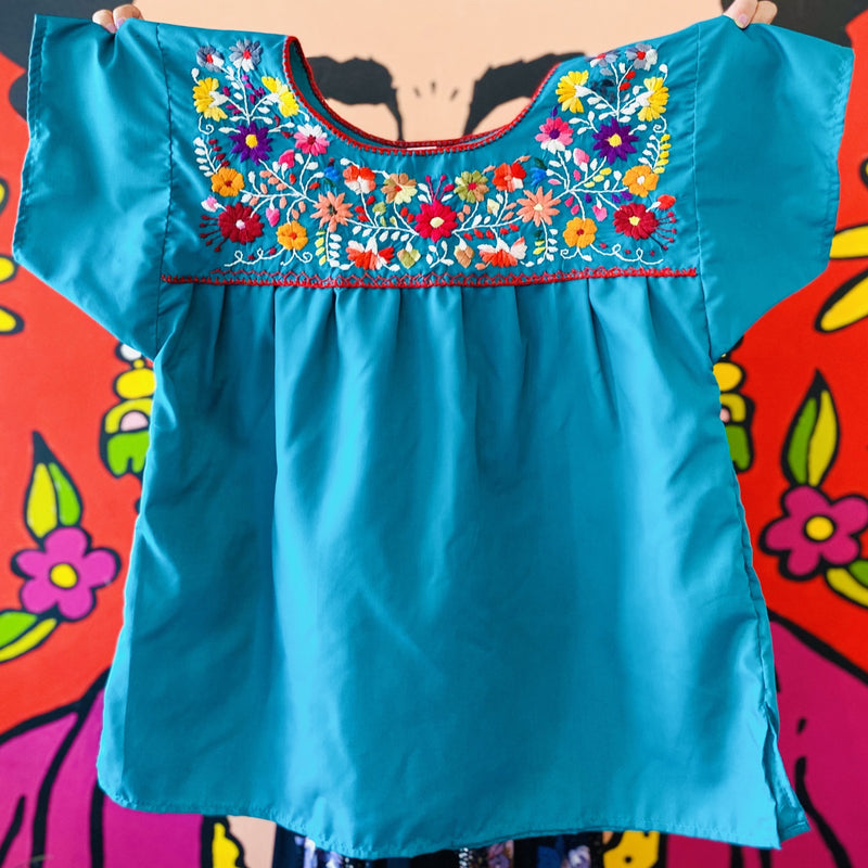 Women's Embroidered Blouse - Teal with Red Stitching