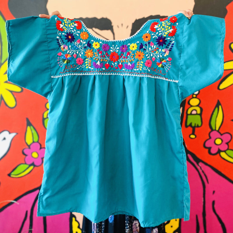 Women's Embroidered Blouse - Teal with White Stitching